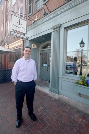 Newburyport: Mark Tramontana in front of the newly renamed Anchor Stone Pizza on State Street in Newburyport. Jim Vaiknoras/staff photo
