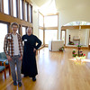 West Newbury: Brother Curtis of the Society of St John the Evangelist and intern Andrew Sinnes welcome visitors to the chapel during an open house at the Emery House property Sunday afternoon. Jim Vaiknoras/staff photo