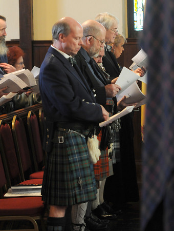 Amesbury:  Scottish clansfolk join in the serviceat the  St James Episcopal Church in Amesbury Sunday morning for the Kirking of the Tartans. Jim Vaiknoras/staff photo