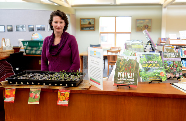 JIM VAIKNORAS/Staff photo   Newbury Library director Amy Sadkin with the seed library.