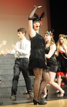 "JIM VAIKNORAS/Staff photo  Kayla Murphy as Velma Kelly lead the cast in 'All That Jazz""  in the Amesbury high School production of Chicago."