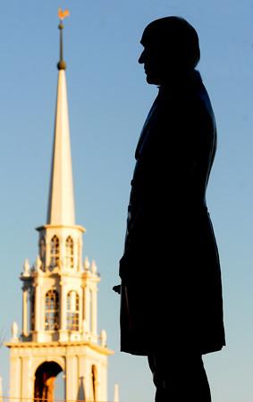 JIM VAIKNORAS/Staff photo  Statue of William Garrison in Brown Square in Newburyport.