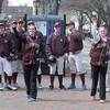 "JIM VAIKNORAS/Staff photo  <br />  Players on the Newburyport high baseball look on as  softball players Victoria Allman and Carley Siemasko toss out the ""First Pitch"" in Market Square in Newburyport Friday. The event was in honor of the Red Sox home opener."