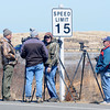 JIM VAIKNORAS/Staff photo Photographers on the hunt for fox kits on Salisbury Beach Reservation Thursday. With the snowy owls gone for the season wild life enthusiasts have turned their attentions towards them.