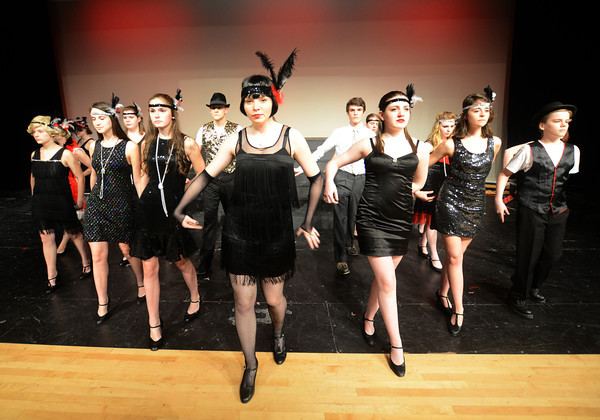 """JIM VAIKNORAS/Staff photo  Kayla Murphy as Velma Kelly lead the cast in 'All That Jazz""""  in the Amesbury high School production of Chicago."""