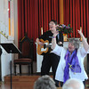 JIM VAIKNORAS/Staff photo  Rev Lucy Blood gets some back up help from The Grace Notes, Laurie Kulick, Jane Preston, Rose Marie Majil and Claire Sheldon, during a fund raising concert Sunday afternoon at eth Union Congregational Church in Amesbury.