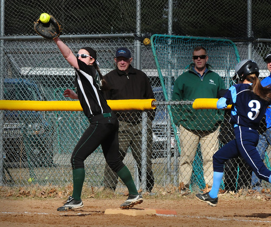 BRYAN EATON/Staff Photo. Pentucket's Mary Kate Corrado forces Triton's Kiley Gilroy out at first.