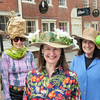 BRYAN EATON/Staff Photo. Ladies behind this month's Newburyport Easter Hat Parade on Inn Street, from left, Robin Lawson, Cynthia Quinn, Ann Simpson and Pat Skibbee.
