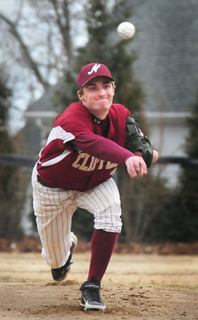 BRYAN EATON/Staff Photo. Newburyport pitcher James Nutter sends the ball to a North Reading batter.