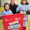Amesbury: Cashman School phys ed teacher Ted Flaherty oversaw the Amesbury school's Jump Rope for Heart which raised $7,813 for the American Heart Association. Responsible for raising $500 each of the fundraiser was Kayleigh Corriveau, 6, left, and Shea Cucinotta, 10. Bryan Eaton/Staff Photo