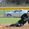 BRYAN EATON/ Staff Photo. Pentucket's Allison Knowles slides safely into second base on a steal.