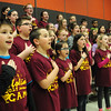 BRYAN EATON/Staff Photo. Molin Upper Elementary School students, in Newburyport,  practice the national anthem which they're going to perform at a Manchester Monarchs game.