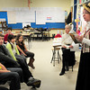 "BRYAN EATON/ Staff Photo. Local author Donna Seim talks to students in Renee Ames' class at the Bresnahan School in Newburyport, which was illustrated by Susan Spellman, rear, about her book ""Charley"" a story based on an orphan from Boston who was sent to live in Maine. The class is creating a time capsule, including their writings and illustrations, and Ames thought the two ladies would give them some inspiration in this project funded by the NEF."