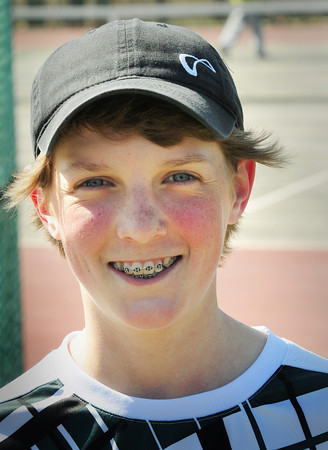 BRYAN EATON/ Staff Photo. Pentucket High tennis first singles player, freshman Connor Aulson.