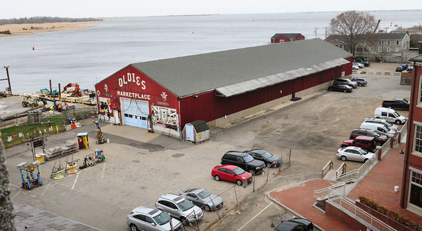 BRYAN EATON/ Staff Photo. View of the Oldies Marketplace from the roof of the Custom House Maritime Museum. The property is one of several on Newburyport's waterfront that New England Development is applying for preliminary subdivision approval.