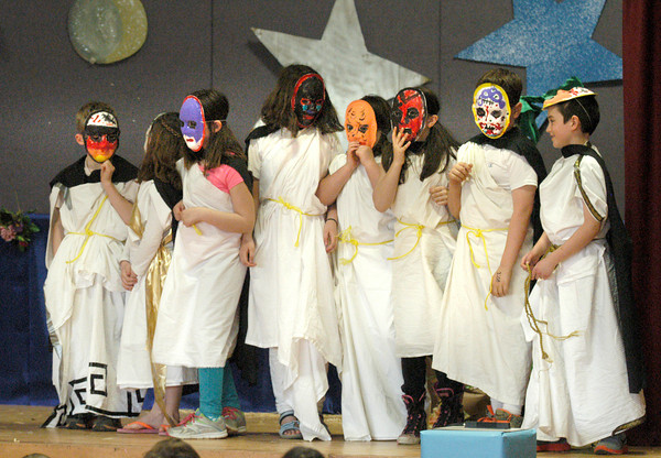 """BRYAN EATON/Staff Photo. Students act out Pandora's Box at the Cashman Elementary School on Monday. The third-graders put on a series of short plays called """"It's All Greek To Me."""""""
