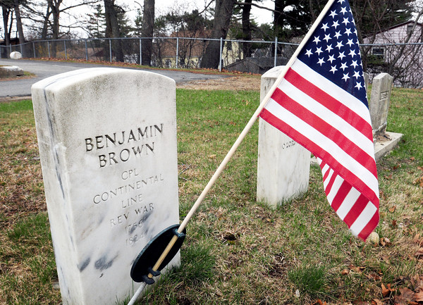 BRYAN EATON/ Staff Photo. The gravestone of Benjamin Brown, born in 1756 and died in 1824 is buried in Seabrook's Hillside Cemetery. He was a corporal in the Continental Line of the Revolutionary War.
