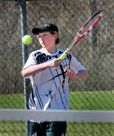 BRYAN EATON/ Staff Photo. Pentucket High tennis freshman Connor Aulson.