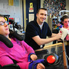Byfield: Triton High special education teacher Kevin Crowley, shown with students Amanda MacCausland, left, and Lexi McCarthy, has been chosen as one of ten teachers who are being considered for selection as the 2015 Massachusetts Teacher of the Year. Bryan Eaton/Staff Photo