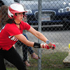 BRYAN EATON/Staff Photo. Amesbury's 16 bunts but was forced at first, The next pitch she hit a single.