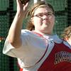 BRYAN EATON/Staff Photo. Amesbury shot putter Felicia Fishel.