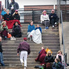 BRYAN EATON/Staff Photo. Though it got close to 60 degrees at one point yesterday, several people watching Newburyport host Pentucket in baseball wore blankets as there was a breeze.