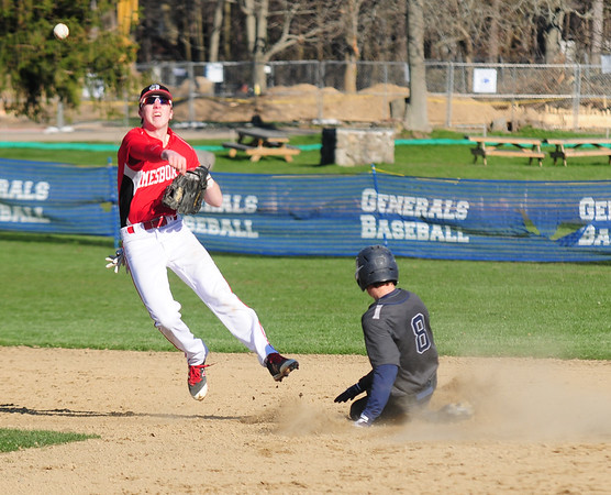 JIM VAIKNORAS/Staff photo Hamilton Wenham's Harrison O'Brien slides into second as Amesbury's #21 ..Aponas attempts to turn a double play  during their game at Patton Park in Hamilton.