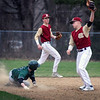 BRYAN EATON/Staff Photo. Newburyport second baseman Hadden has the ball though Pentucket's Jacob Deziel was safe on the steal.