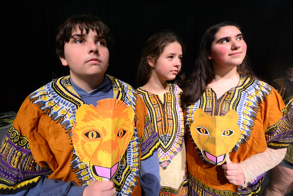 JIM VAIKNORAS/Staff photo  Wally Ziehler jr as<br /> Mufasa, Sophia Mailhoit as older Simba and Adrianna Deeb as Sarabi in the The Lion King Jr at Triton high school.
