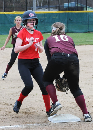 BRYAN EATON/Staff Photo. Newburyport third baseman Twomey has the throw forcing out Masco's Julia Richards.