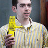 BRYAN EATON/Staff Photo. Pentucket High Bio-Mechanics teacher Matt Lovett is embarking on a project that aims to provide prosthetic hands to children with no insurance. He is partnering with Joe Fairley from Merrimack College, pictured, (speaking to Lovett's class) who has connections to E-nable, a non-profit that reaches out to people around the world with 3-D printers to download designs and print the prosthetic hands.