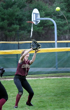 BRYAN EATON/Staff Photo. Paige Gouldthorpe readies to catch a pop fly.