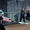 BRYAN EATON/Staff Photo. Pentucket's 24 makes a hit but the ball was caught in the outfield.