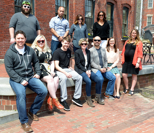 JIM VAIKNORAS/Staff photo <br /> First Row Left to Right:<br /> Jason Makin (imarc), Alice Jones (Riverwalk Gallery), Wade Cedar (Underdog Skate Shop), Mary Boland (Anchor Hitch Media), Sean Toomey (Crave), Kassandra Gove (Amesbury Chamber of Commerce), Josselyn Wilson (Supercuts/Honey Tree Inc)<br />  <br /> Top Row Left to Right:<br /> Matt Stasio (Sonder), Vladimir Lora (Market Square Bakehouse- not pictured is his business partner Angela Gonthier), Casey Mesina (All About You), Allison Boyajian (imarc)
