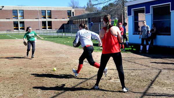 BRYAN EATON/Staff Photo. Triton High softball team practices.