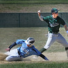 BRYAN EATON/Staff Photo. Pentucket shortstop Kiernan Haley tries for a double play forcing out Triton's #9 on second base.