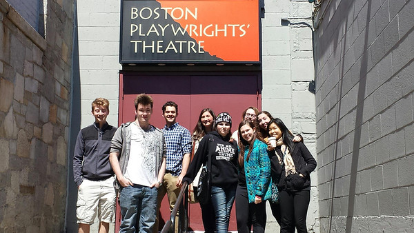 Students from Sparhawk School in Amesbury, Massachusetts pose in front of the Boston Playwrights' Theatre. Left to right students: Mitchell Smith, Andrew Regan, Jordan Michel, Lola Getz, Miky Foley, Tovah Lockwood, Kat Reidl, Ella Faria, Wendy Xie.