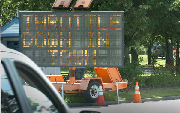 Salisbury: Signs in Salisbury advise motorcyclists to keep their machines on the quiet side in the downtown area. Bryan Eaton/Staff Photo