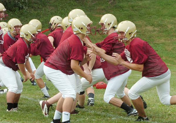 Newburyport: Newburyport High School football team started practice yesterday at the Nock Middle School field. Bryan Eaton/Staff Photo