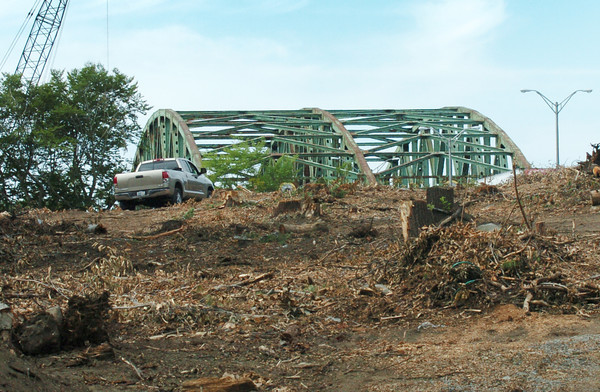 Amesbury: Whittier Bridge can be seen from Main Street in Amesbury next to the Interstate 95 overpass as trees and brush have been cleared to make way for construction workers on the new bridge construction. Bryan Eaton/Staff Photo