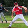 Rowley: Post 150 pitcher Joe Lavasseur winds up last night at Eiras Field in Rowley. Bryan Eaton/Staff Photo