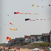 Salisbury: Over a dozen kites of various sorts flew over the south side of Salisbury Beach Center on Wednesday afternoon in the offshore breeze. Bryan Eaton/Staff Photo