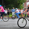 Newburyport: Newburyport Chamber of Commerce president Ann Ormond, Gail Fayre, chief medical officer at the Anna Jaques Hospital and Newburyport Mayor Donna Holaday compete in the first heat of the celebrity part of the Slow Bike Race in Brown Square. Bryan Eaton/Staff Photo