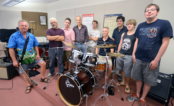 Newburyport: Musicians Fred Hopper, Jim Grenier, Dan Alvarez de Toledo, Rob Brun, Clayton Vye, Steve Cohen, Ben, Eramo, Andrew Desaturo, and Jamie Welch will be perfroming in  Walk Back in Time fundraiser for music in Newburyport schools. Jim Vaiknoras/staff photo