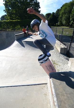 Newburyport: Jack Reeves, 13, rides the wall at the Newburyport Skate Park Saturday afternoon. Jim Vaiknoras/staff photo