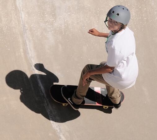 Newburyport: Daniel Van Boom , 12, at the Newburyport Skate Park Saturday afternoon. Jim Vaiknoras/staff photo