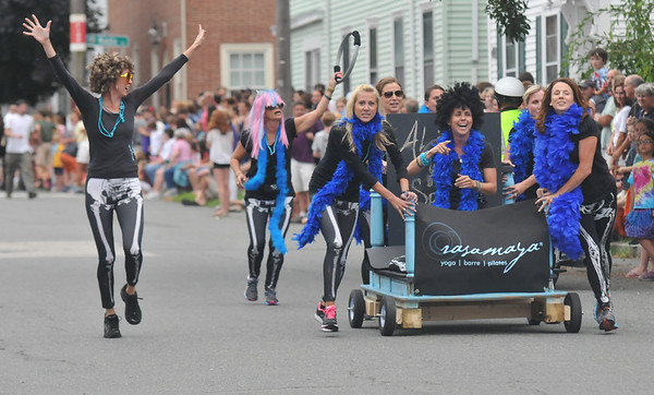 Newburyport: The Rasamaya Team heads to the finish line in theYankee Homecoming Lions Club Bed Race on Federal Street Thursday night. Jim Vaiknoras/staff photo