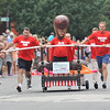 Newburyport: The Oregano Meatball Team rolls to the finish line in the Yankee Homecoming Lions Club Bed Race on Federal Street Thursday night. Jim Vaiknoras/staff photo