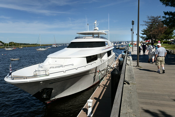 BRYAN EATON/ Staff Photo. The Hannah B has been moored at the Newburyport waterfront for several with with speculation on who owns the 112 foot yacht.