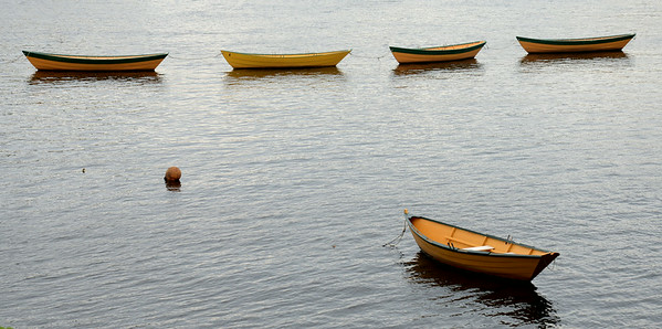 JIM VAIKNORAS/Staff photo A quintet of dories sit in teh Merrimack River near the Lowell Boatshop in Amesbury Sunday morning.